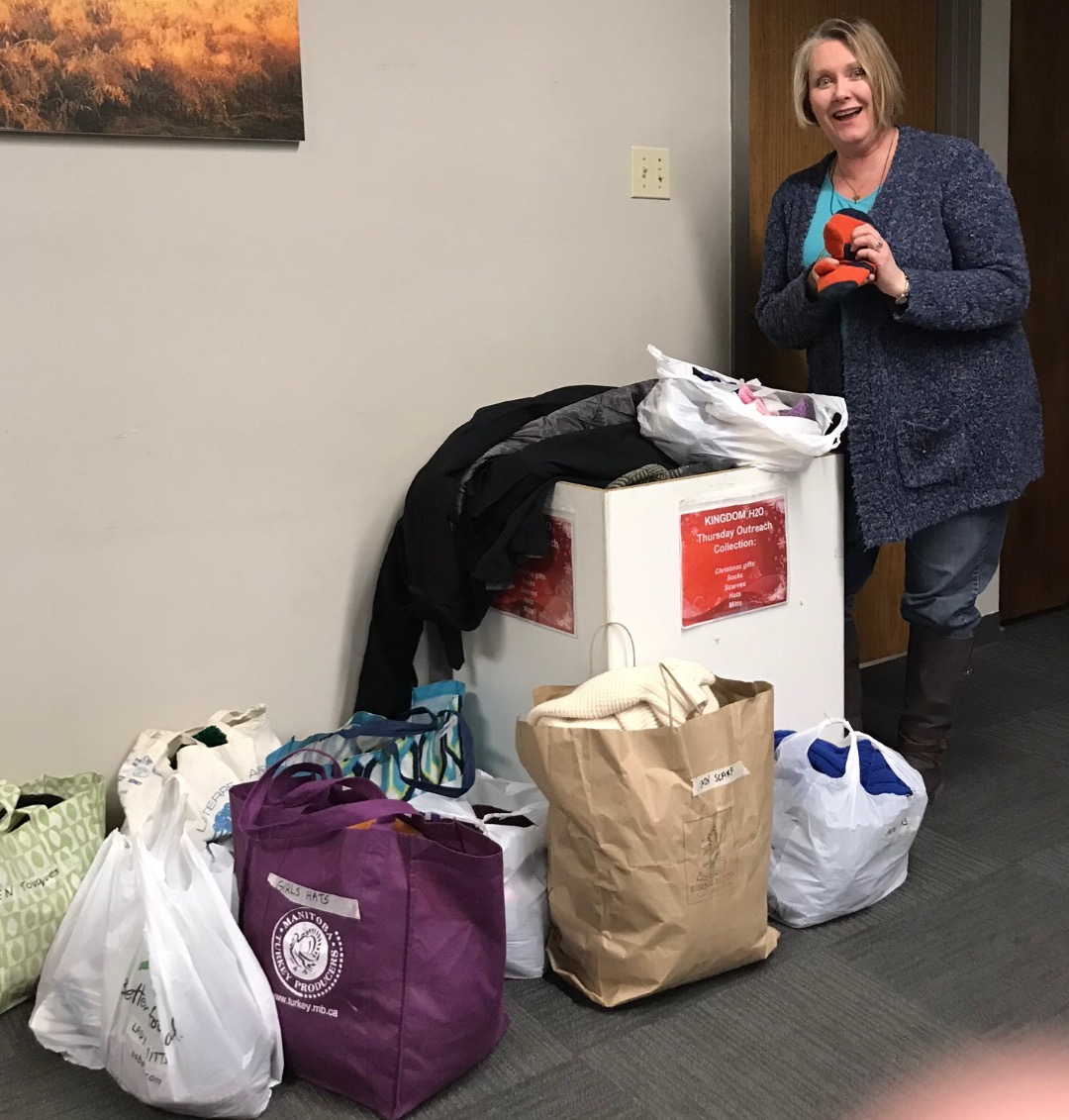 sorting through donations